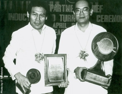 Dr. Flores (right) with his predecessor Dr. Flor Lacanilao during the installation ceremony in 1992