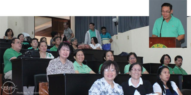 AQD and the University of the Philippines Visayas (UPV) employees paid tribute to Dr. Flores on 29 January at UPV Miag-ao campus in Iloilo. As part of the tribute, AQD scientist Dr. Relicardo Coloso (inset) relived the accomplishments of Dr. Flores during his term as AQD Chief