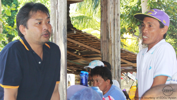 Congressman Hon. Victor Yu and a local farmer during the farm visit / consultation which was done after the lectures