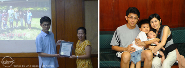 "(Left) JIRCAS scientist Dr. Satoshi Watanabe receives a Certificate of Appreciation from AQD's research head Dr. Ma. Junemie Hazel Lebata-Ramos. (Right) Dr. Watanabe with wife Nahoko and sons Yuta and Koshi; Dr. Watanabe thanks AQD for ""all the wonderful memories and the warm treatment"" given to him and his family during their five-and-a-half years stay in the Philippines"