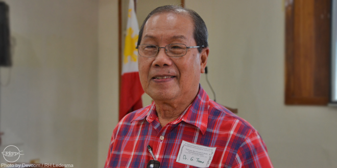 Dr. Trono during his visit to AQD in April 2013