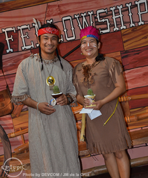 A night to remember for AQD feed mill operator Mr. Vicente Teves Jr and  senior technical assistant Ms. Ellen Flor Solis who were chosen as the  Best Dressed employees on the fellowship night