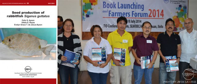 AEM 59 Seed production of rabbitfish Siganus guttatus authored by Dr. FG Ayson (far-right), Ms. OS Reyes and Dr. EGDJ Ayson is a 39-page extension manual describing the biology, site selection, broodstock management, larval rearing and larval food production for rabbitfish