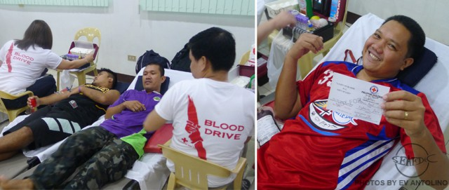 Give blood, save a life. AQD donors during the bloodletting proper