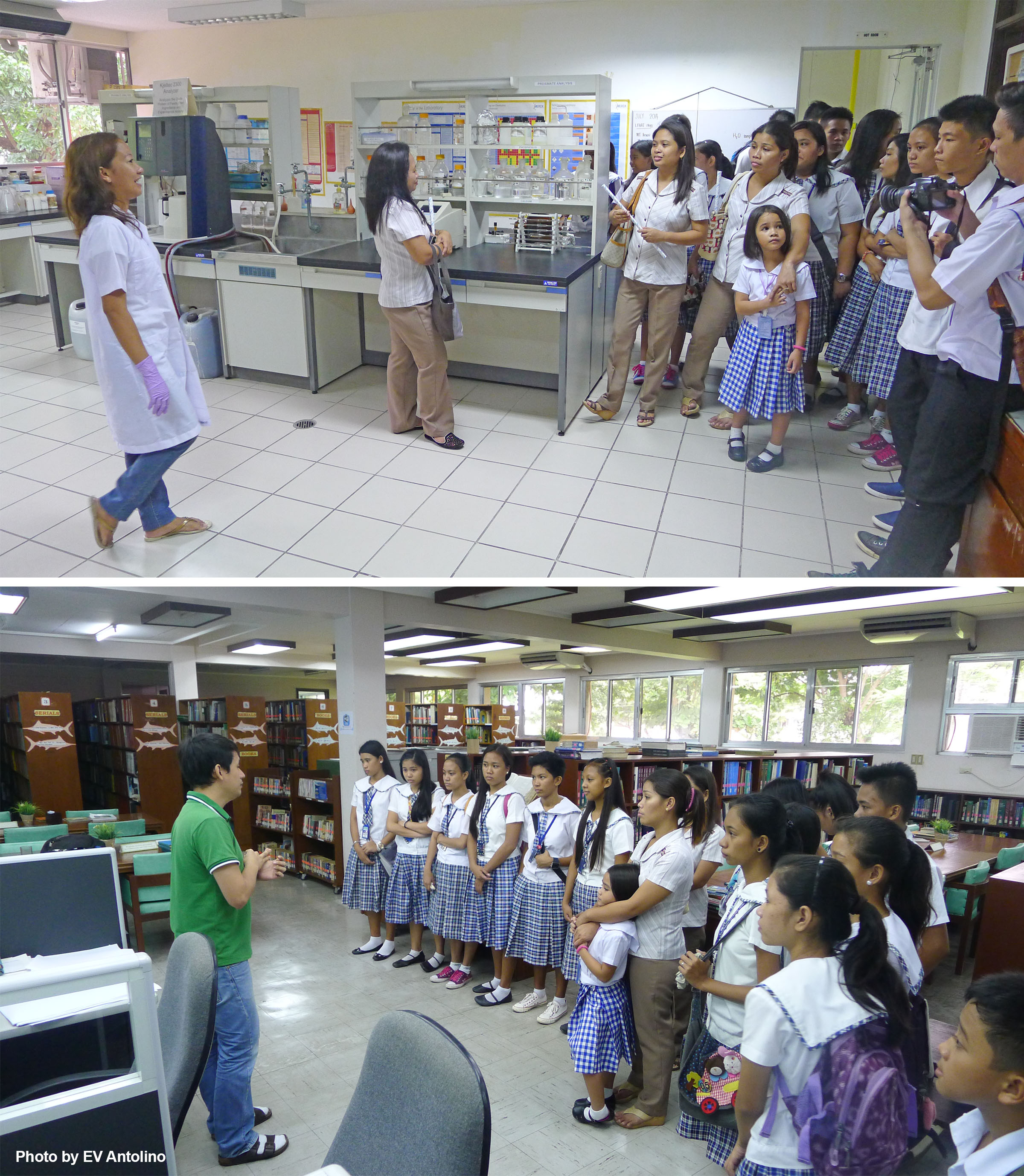 Students from Nalundan National High School tour the laboratory facilities and the library