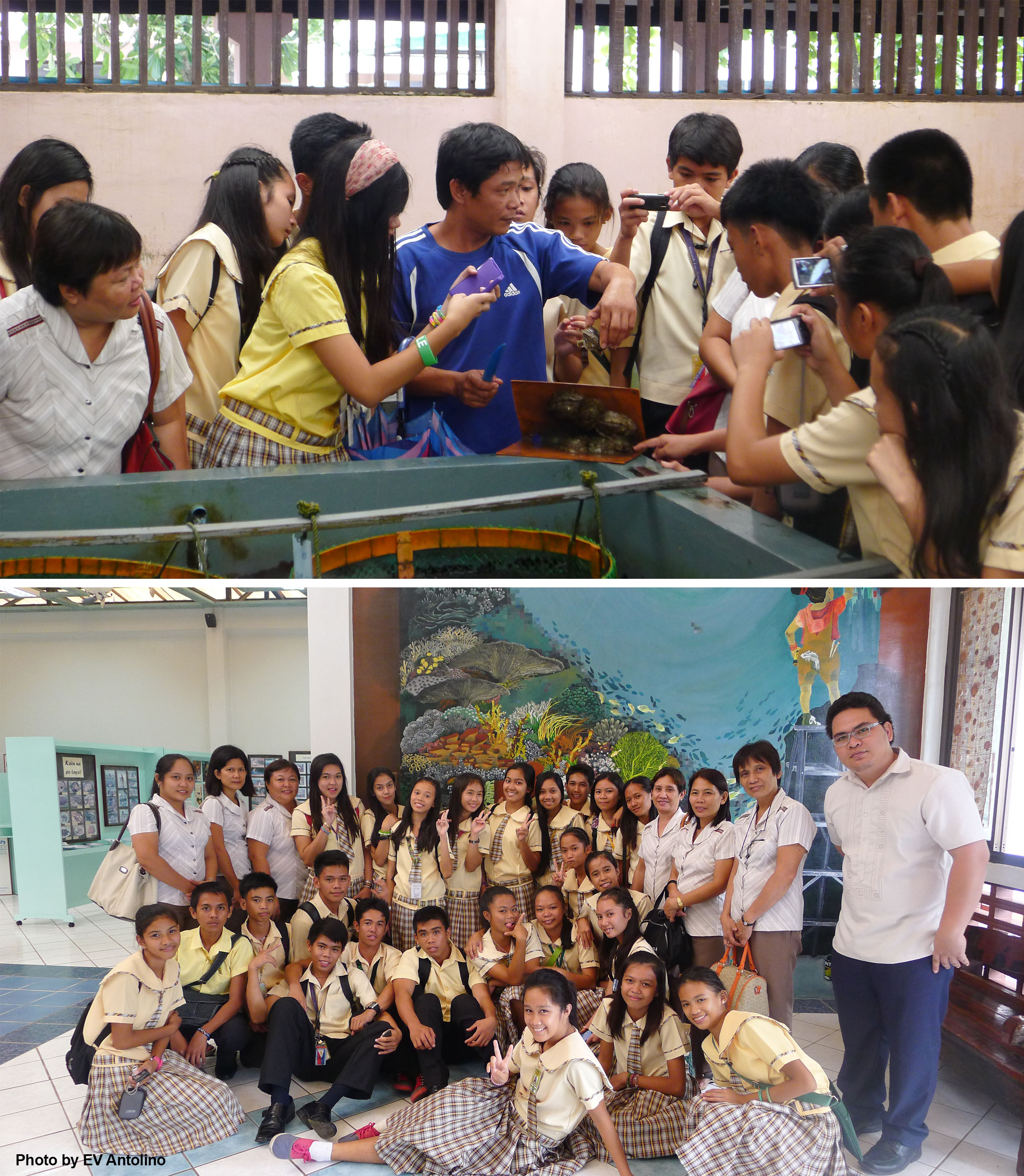 The teachers and students of Particion National High School enjoy their visit in the abalone hatchery and FishWorld