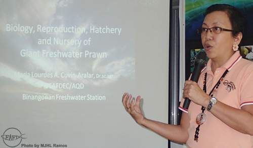 AQD scientist Dr. Ma. Lourdes Aralar lectures at the Farmers' Forum