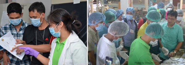 Trainees during feed formulation and feed milling practicals
