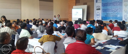 The  afternoon session started with the lecture on  Grow-out of Marine Fish in Ponds and Cages  by SEAFDEC/AQD's Mr. Eliseo B. Coniza and Dr. Evelyn Grace de Jesus-Ayson.  Their talk was followed by a lecture on Seaweed Culture by Ms. Ma. Rovilla J. Luhan, then by a lecture on Abalone Farming by Ms. Milagros R. de la Pena