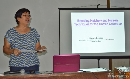 I AM THE CATFISH QUEEN! SEAFDEC/AQD's Information Specialist Ms Ruby F. Bombeo lectures and shares her expertise on the breeding, seed production and nursery techniques for catfishes