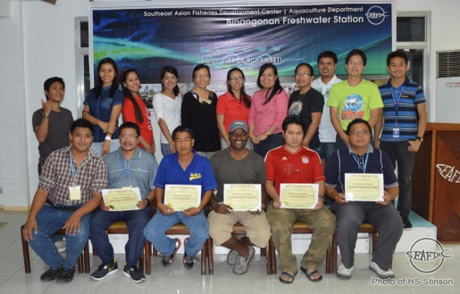 LET'S GROUFIE! SEAFDEC/AQD resource persons and staff group together for a photo-op with the trainees after the awarding of certificates