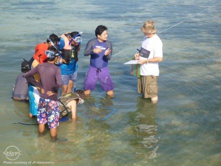 Trainees listen to AQD associate scientist Dr. Jon Altamirano for instruction during their practicals on sea ranching site assessment