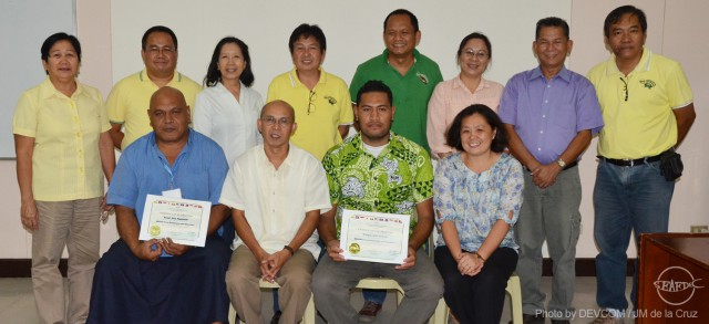 Trainees with AQD Chief Dr. Felix Ayson (sitting in white), resource persons and training staff