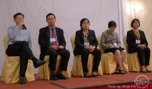 Speakers from AQD - Drs. Mae Catacutan (rightmost), Myrna Teruel (middle), and Relicardo Coloso (2nd from left) respond to questions of participants during the open forum/discussions together with two other speakers; Mr. M. Weimin of FAO-RAP and Dr. M. Boonyaratpalin, Advisor, Department of Fisheries, Thailand