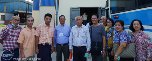 Field trip of meeting participants to a local feed company (Htoo Thit Fish Meal Factory) in  Yangon, Myanmar. Shown in photo are aquaculture feed/nutrition experts from AQD (Drs. R. Coloso, M. Catacutan, M. Teruel and V. Alava) with SEAFDEC Secretary General, Dr. C. Pongsri; Dr. F.G. Ayson, AQD Chief; Dr. T. Shibuno, AQD Deputy Chief; and SEAFDEC Secretariat Technical Coordinator, Mr T. Iwata. Also shown in photo are the owner and staff of the local feed company