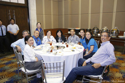 Senator Villar (leftmost) with Dr. Aralar and Dr. Salayo (4th-5th from left) and other participants of AQUATECH 2015