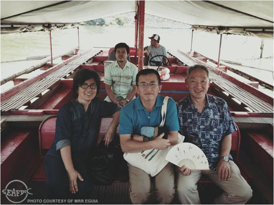 (L-R) Dr. Eguia, BFS Officer-in-Charge Dr. Frolan Aya, Dr. Ikeda and Prof. Kijima ride a boat to BFS