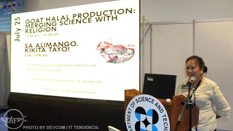 Technology verification and demonstration head Dr. Fe Dolores Estepa during her talk on the nursery rearing of mud crab