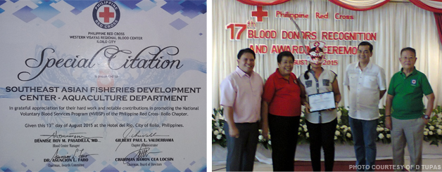 The special citation from the Philippine Red Cross – Iloilo Chapter and Ms. Dorfra Tupas receiving the award