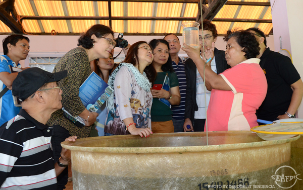 The Panguil Bay Development Council and Iligan Baywide Management Council meeting delegates at SEAFDEC/AQD's Integrated Broodstock Hatchery Complex and looking at a beaker full of newly-hatched milkfish larvae