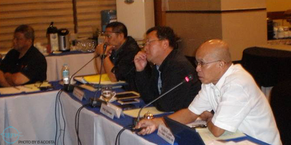(From right) Dr. Felix Ayson, SEAFDEC/AQD Chief;  Atty. Asis Perez, Department of Agriculture Undersecretary for Fisheries and BFAR Director; Dr. Crispino Saclauso, Dean of UPV College of Fisheries and Ocean Sciences and Mr. Rafael Ramiscal, Head of Capture Fisheries Division, BFAR and SEAFDEC National Coordinator for Philippines;  during the 2015 PTAC meeting.
