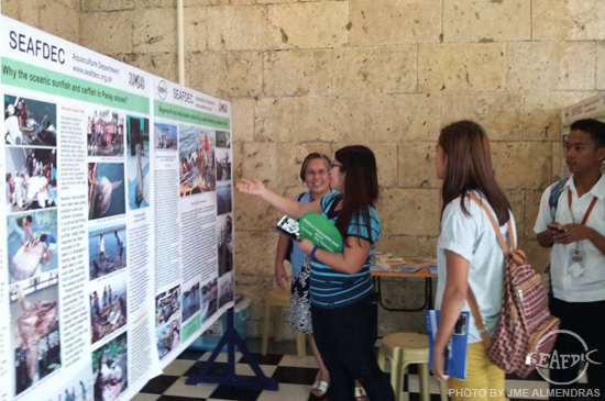 Dr. TeodoraBagaranio entertains questions from students about the megamouth and whale sharks captured by local fisheries in Iloilo