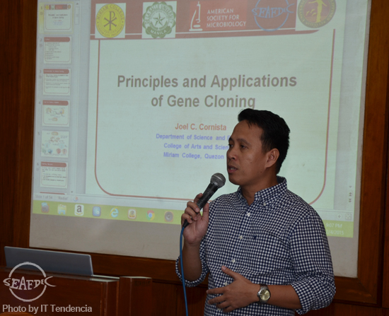 Mr. Joel Cornista of Miriam College discusses the principles and applications of gene cloning