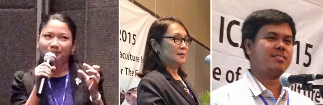 (L-R) AQD Associate Researcher Ms. Sheryll Avanceña, Scientist Dr. Mae Catacutan and Associate Scientist Dr. Frolan Aya give their presentation at ICAI 2015