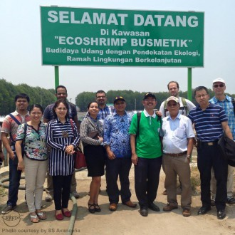 Some of the ICAI participants during their visit in the shrimp farm