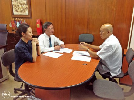 AQD Chief Dr. Felix Ayson in discussion with Global DCF Director Dr. Sang-go Lee and Assistant Manager Ms. Ara Cho