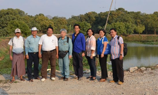 The survey team at the Annawha Taipyi Fishery Co. Ltd. Eel farm. From left: Dr. Kyaw Kyaw (DoF, Myanmar), Mr. Khin Maung Htun (Mandalay District Fisheries Officer), Mr. U Min Myint (Owner of eel farm and trading center), Dr. Satoshi Honda (Deputy Chief, IFRDMD), Dr. Taweekiet Amornpiyakrit (Senior Policy and Program Officer, SEAFDEC/Secretariat), Ms. Ni Komang Suryati (IFRDMD), Dr. Evelyn Grace Ayson (AQD) and Mr. Freddy Supriyadi (IFRDMD)