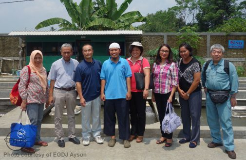 The survey team at the PT. Laju Banyu Semesta Eel Farm. From left: Dr. Dina Muthmainnah (IFRDMD), Dr. Budi Iskandar Prisantoso (IFRDMD), Dr. Takuro Shibuno (AQD), Mr. Angga (PT. Laju Banyu Semesta), Dr. Evelyn Grace D. J. Ayson (AQD), Dr. Mae R. Catacutan (AQD), Ms. Ni Komang Suryati (IFRDMD), Dr. Satoshi Honda (IFRDMD)