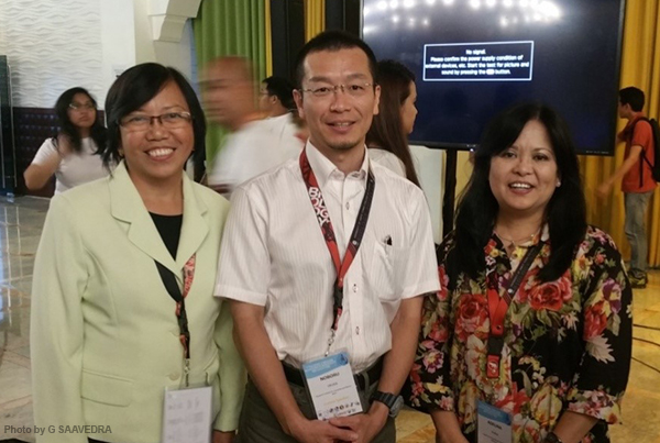 Dr. Cuvin-Aralar (left) with fellow judges, Dr. Noboru Okuda and Laguna Lake Development Authority's Ms. Adelina Santos-Borja, for the Graduate Student Oral competition