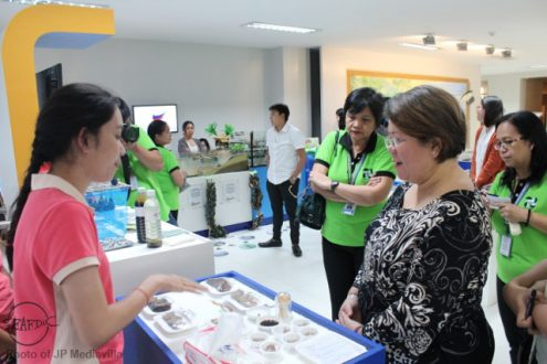 SEAFDEC/AQD's Research assistant Ms. Mary Dianne Grace Arnaldo discusses the hatchery set-up of abalone to DOST Undersecretary Rowena Cristina L. Guevara